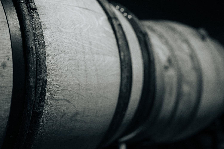 Close-up of wine barrels